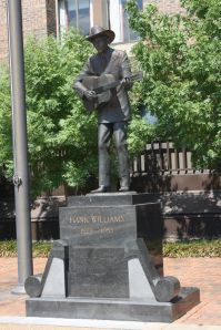 Hank Williams statue outside the site of his 1953 funeral, Montgomery, Alabama